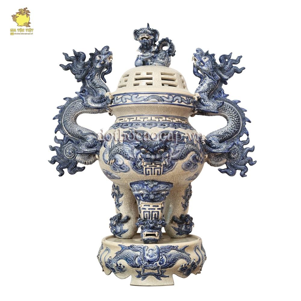 Lư hương bằng gốm sứ men rạn cổ cao cấp